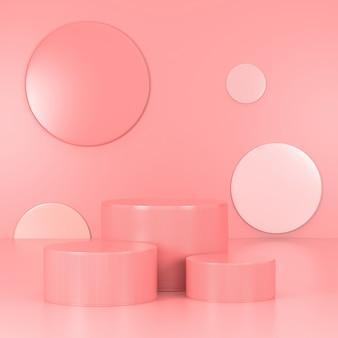 Розовый подиум минимальный. розовая стена сцена. пастель. 3d-рендеринг.