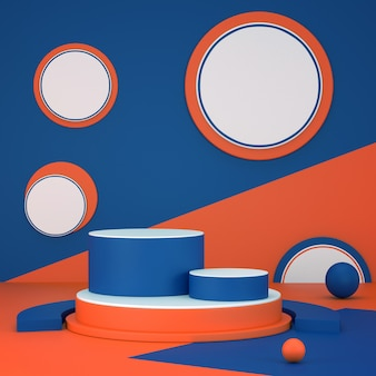 3d визуализация контраст синий и оранжевый подиум