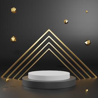 Перевод 3d подиума постамента черного золота на ясно предпосылке, абстрактном минимальном пустом пространстве подиума для продукта косметики красоты,