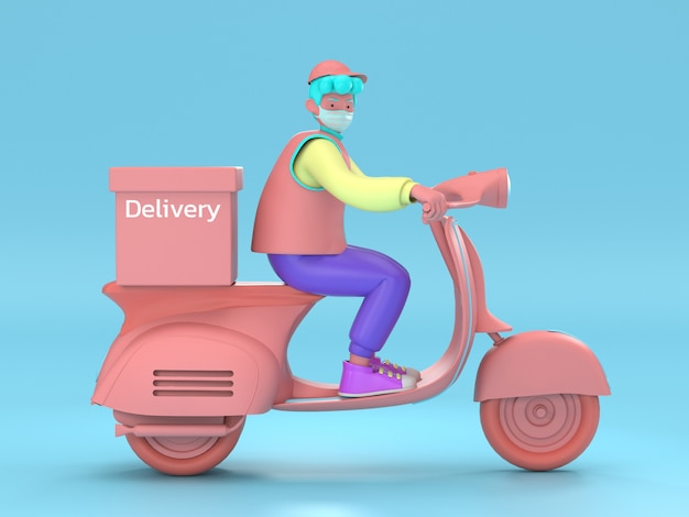 Иллюстрация 3d быстрая и бесплатная доставка самокатом для концепции электронной коммерции обслуживания общественного питания передвижной. онлайн заказ еды на сайте, дизайн приложений, доставка на дом и в офис. склад