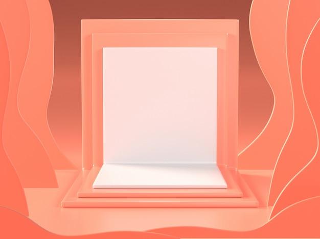 3d представляют абстрактной комнаты коралла с подиумом
