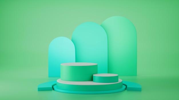 3d визуализация, примитивные формы, абстрактная геометрическая стена, цилиндрический подиум, современный минимальный, пустой шаблон, металлическая сетка из зеленого золота, пустая витрина, витрина магазина, румянец зеленого пастельного цвета