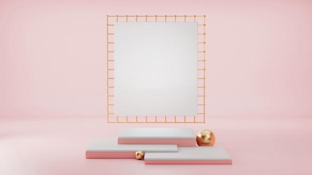 3d визуализация, примитивные формы, абстрактные геометрические стены, цилиндрический подиум, современный минималистичный, пустой шаблон, металлическая сетка из розового золота, пустая витрина, витрина магазина, румяные розовые пастельные цвета