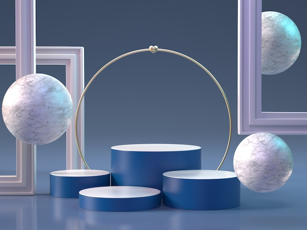 3d представляют подиума с сферами и рамками