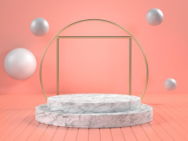 3d представляют белого мраморного подиума с мраморными сферами