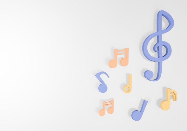Перевод примечания 3d музыки на белой предпосылке.