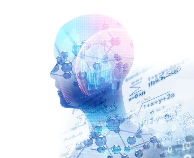Изображение с двойной экспозицией виртуальной человеческой 3d иллюстрации