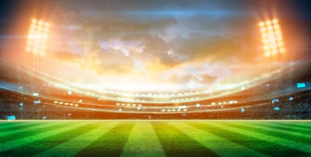 夜の照明とスタジアムの3dレンダリング