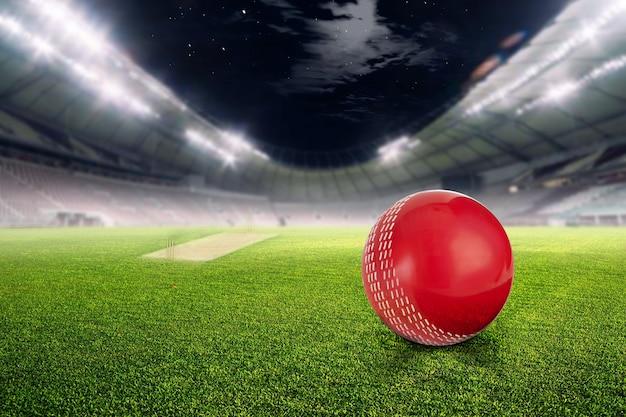 Крикет стадион с мячом в огнях и вспышки 3d визуализации