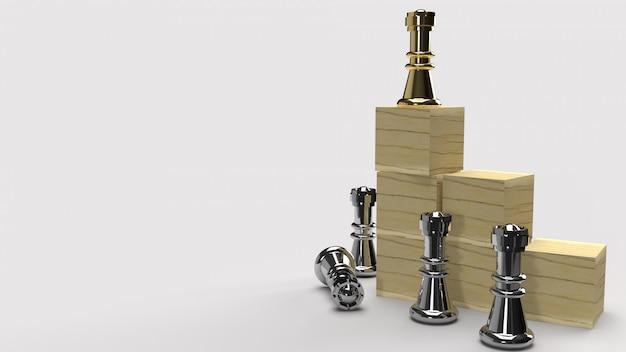 Шахматы и деревянный куб 3d-рендеринга для бизнес-контента.