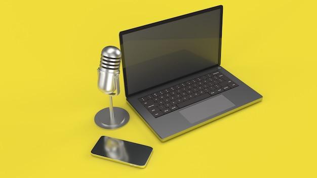 ポッドキャストコンテンツ用のビンテージマイクノートブックおよびスマートフォン3dレンダリング。