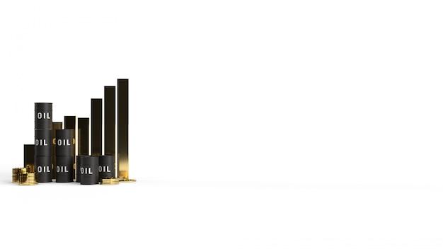 Бак масла и диаграмма 3d-рендеринга для содержания бензина.