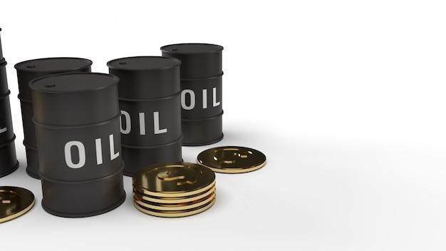 Перевод масла и золотых монеток танка 3d для содержания нефти.