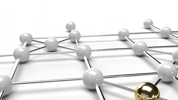 Абстрактное золото дизайна соединения дизайна и белый перевод структуры сети 3d сферы.