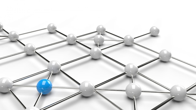 Абстрактный дизайн дизайн соединения синий и белый сфера сетевой структуры 3d-рендеринга.