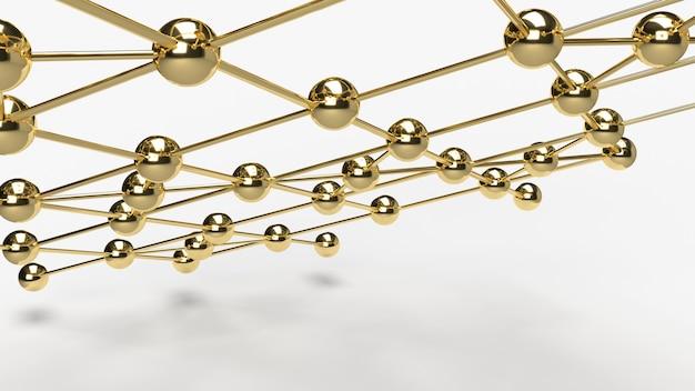Абстрактный перевод структуры сети 3d сферы золота дизайна соединения дизайна.
