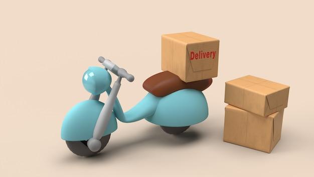 Доставка отправить заказ с мотоциклом, 3d-рендеринг