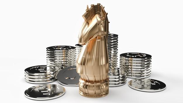Перевод шахмат и серебряных монет 3d рыцаря золота на белой предпосылке для содержания дела.
