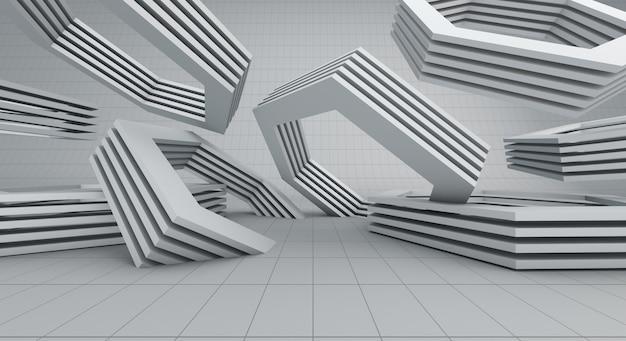 現代的な白い六角形の空の背景、3dのレンダリング