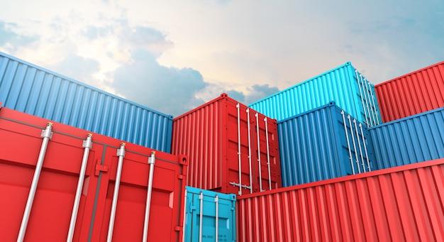 Стек из контейнера коробки, грузовой грузовой корабль для импорта-экспорта 3d