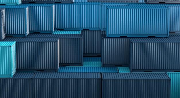 Стек из синей коробки контейнеров, грузовой грузовой корабль для импорта-экспорта 3d