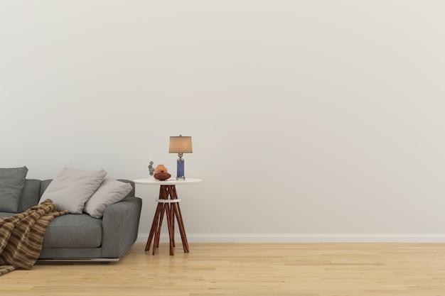 ソファーおよび木の木製の床タイルの大理石のテーブル3dの壁が付いている壁