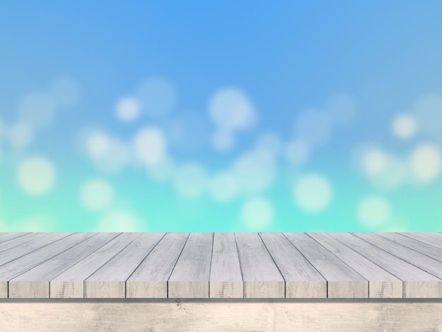 Макет летом размыты 3d визуализации деревянный стол, глядя на морской пейзаж