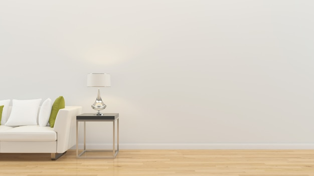 Интерьер гостиной 3d визуализации диван настольная лампа деревянный пол деревянный шаблон стены