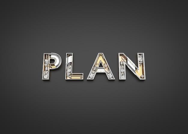 メカニックアルファベットで作った計画の言葉。 3dイラストレーション