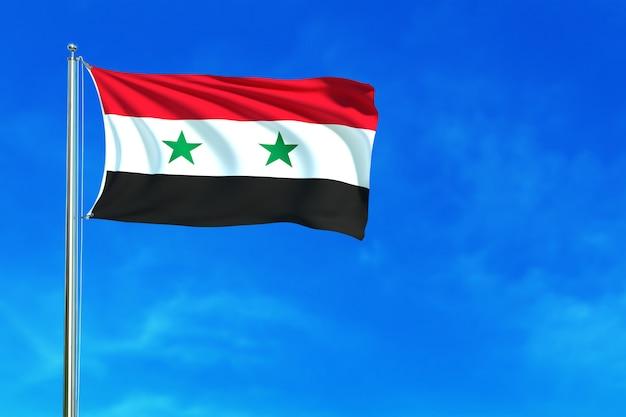 Флаг сирии на фоне голубого неба 3d рендеринг