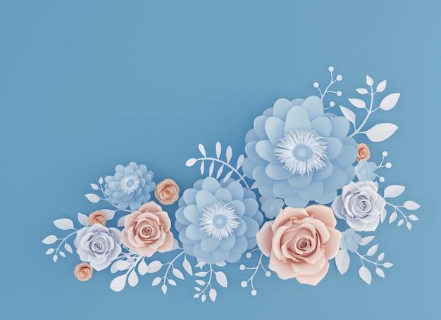 抽象的なペーパーアート青い背景、3dのイラストに花が咲いています。