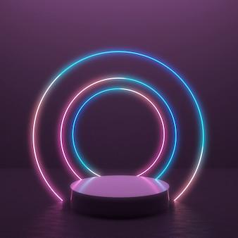 Абстрактное 3d представляет предпосылку с накаляя цепью световых маяков в минимальном дизайне для дисплея продукта.