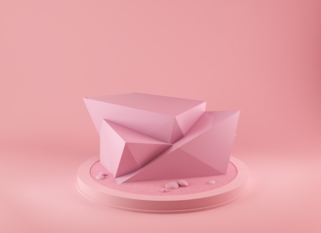 Абстрактный розовый цвет геометрической формы 3d рендеринг фон