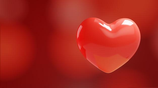 Любовь сердца красные боке огни. 3d иллюстрация