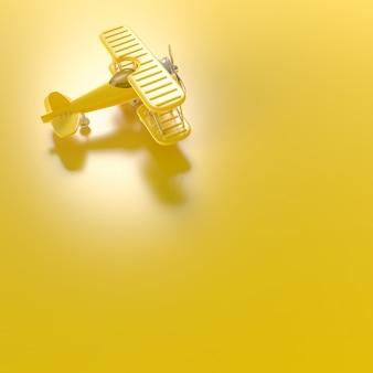 Модель самолета, минимальная концепция игрушек для самолетов, 3d-рендеринг.