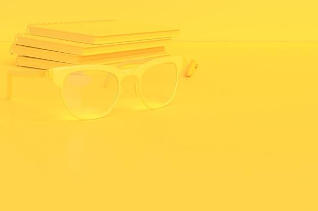 最小限のアイデアコンセプト。テキスト用のコピースペースがある机の上のメガネ、3dレンダリング。