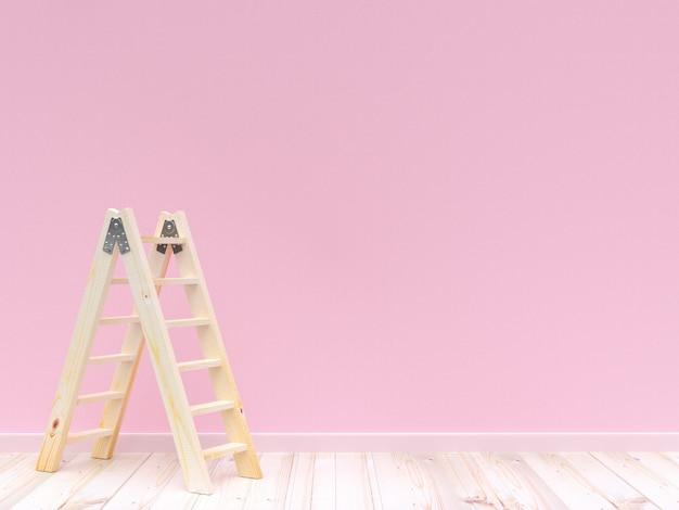 Лестница деревянная на цвете пинка бетонной стены и деревянный пол для предпосылки. 3d визуализация.