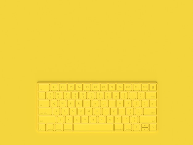 Минимальная концепция. клавиатура желтого цвета и скопируйте пространство для вашего текста, 3d визуализации.