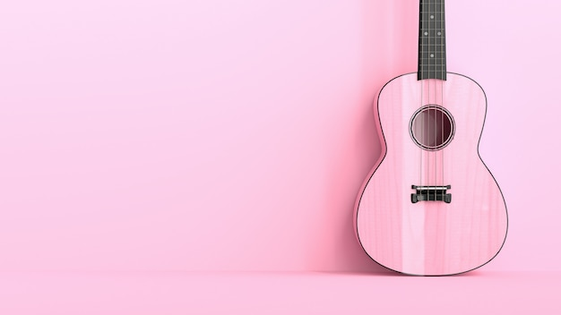 ピンクのウクレレ、ピンクの背景の最小限のアイデアコンセプト。 3dレンダリング。