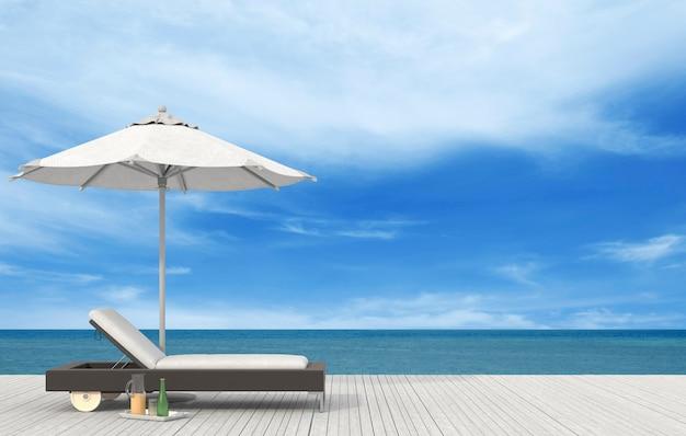 海辺のビーチラウンジ - サンデッキ。 3dレンダリング