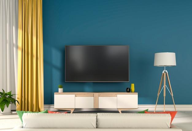 スマートテレビ付きインテリアモダンリビングルームの3dレンダリング