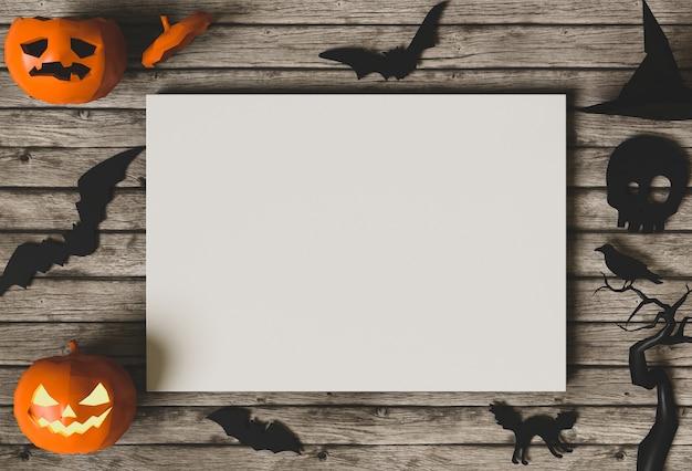 ハロウィーンの休日のポスターは、カボチャでモックアップ。 3dレンダリング