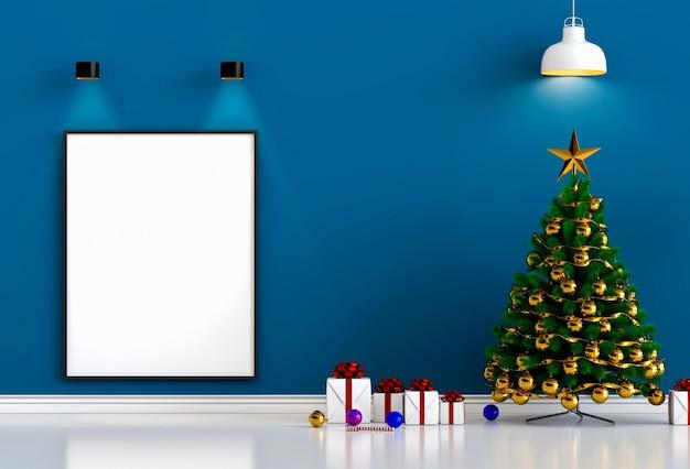 ポスターフレームをモチーフにしたクリスマスインテリアリビングルーム。 3dレンダリング