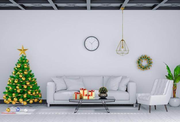 クリスマスのインテリアリビングルーム。 3dレンダリング