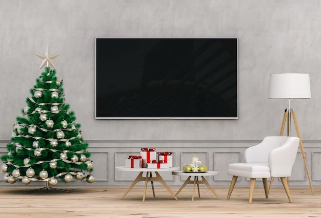 モックアップスマートテレビ。クリスマスのインテリアリビングルーム。 3dレンダリング