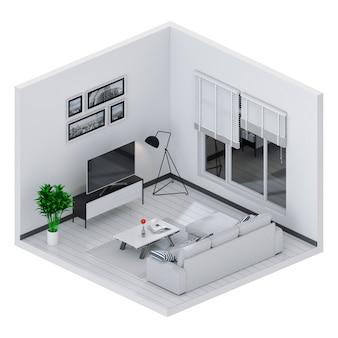 スマートテレビ付きインテリアリビングルームの3dレンダリング