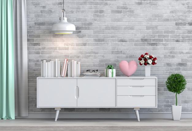 Гостиная и розовое сердце дизайн интерьера 3d иллюстрации, комната валентина