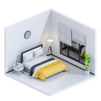 3d представляют внутренней современной спальни.