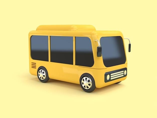 3d желтый автобус мультяшном стиле на желтом