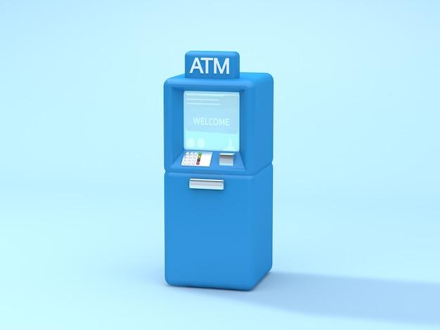 Синий банкомат мягкий синий 3d рендеринг